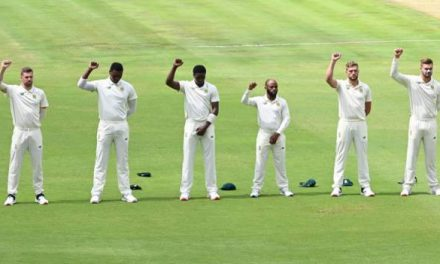 South Africa players raise fists before first Test against Sri Lanka