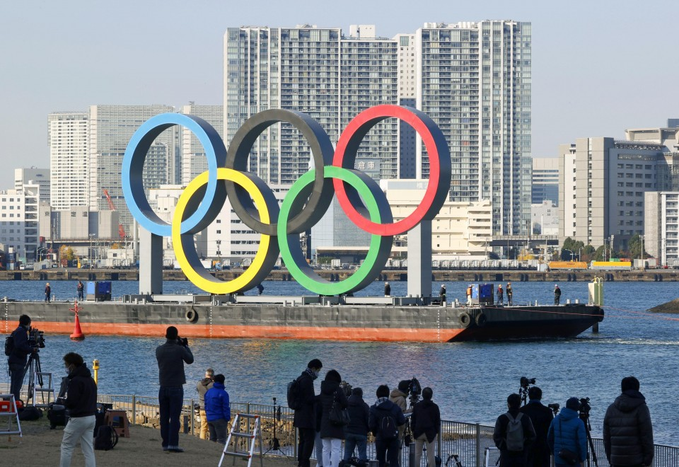 Olympic rings reinstalled in Tokyo Bay after checkups