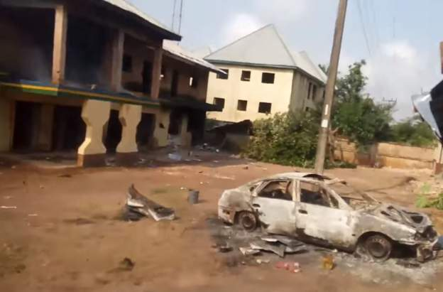 Nigerian youth torch three police stations