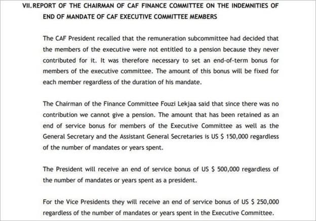Minutes from a Caf meeting in January 2018 detailed end-of-service bonuses for ExCo members
