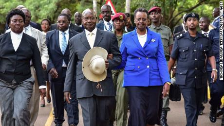 President Yoweri Museveni and First Lady Janet Museveni after delivering the state of the nation address in Kampala, Uganda, on June 6, 2018.