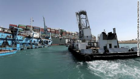 A tugboat operating on the Ever Given container ship in the Suez Canal on March 28.