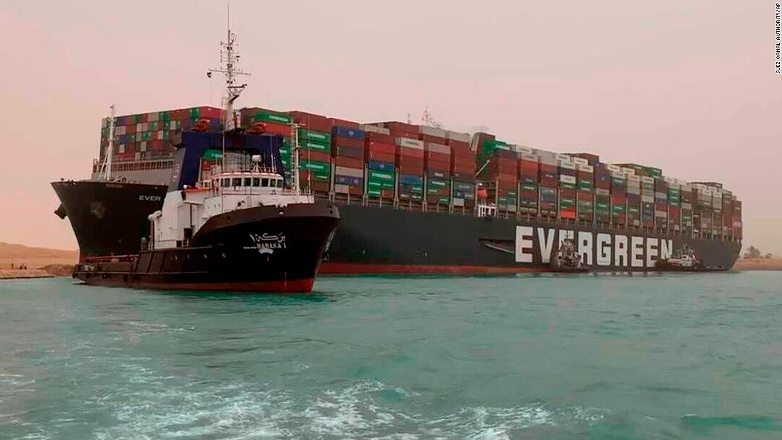 Suez Canal: Tugs resume effort to clear Ever Given container ship blockage in Egypt as traffic jam builds