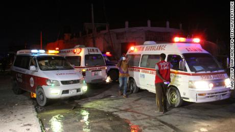 Ambulances near the site of the blast on Friday.
