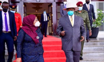 Tanzania's President in Uganda for her first official state visit