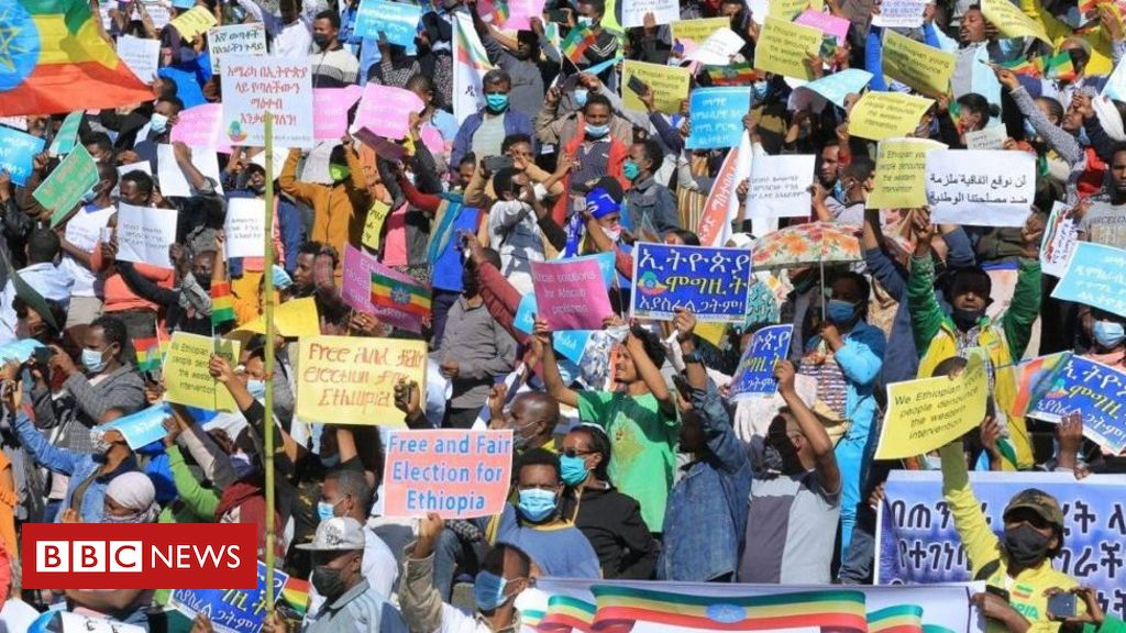 Ethiopia's Tigray conflict: Tens of thousands attend anti-US rally