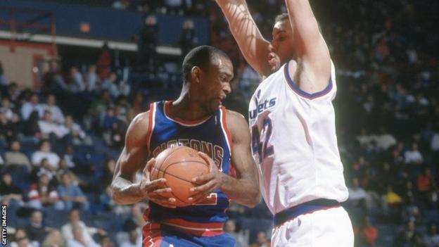 Lance Blanks (left) in action for the Detroit Pistons