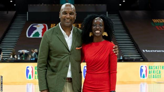 Former NBA player Lance Blanks (left) with his co-commentator Usher Komugisha at the Basketball Africa League