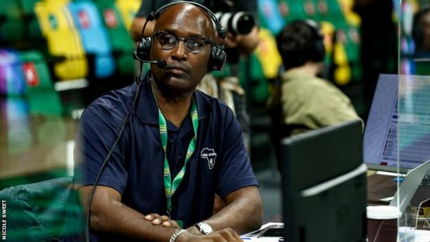 Former NBA player Lance Blanks working as a commentator at the Basketball Africa League in Kigali