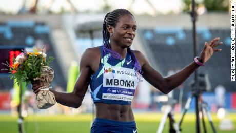 Christine Mboma of Namibia reacts after setting a new World record in a women's 400m race in Bydgoszcz, Poland last month.