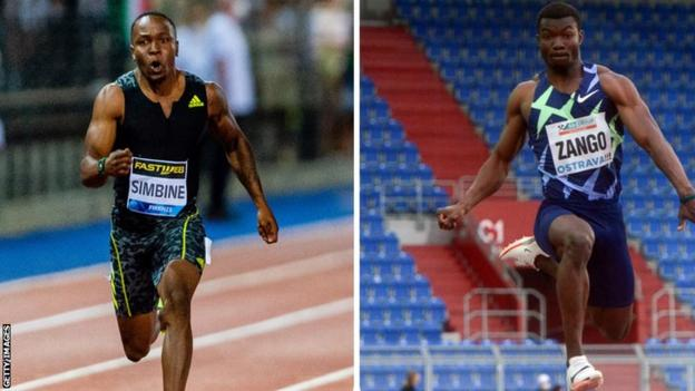 South Africa's Akani Simbine (left) and Burkina Faso's Fabrice Hugues Zango