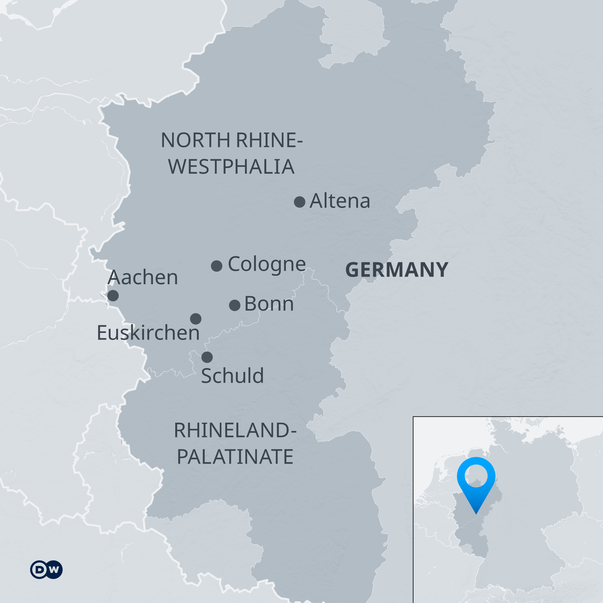 An infographic showing the areas most affected by the floods, in North Rhine-Westphalia and Rhineland-Palatinate.