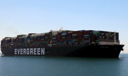 Ever Given container ship under way for departure from Suez Canal