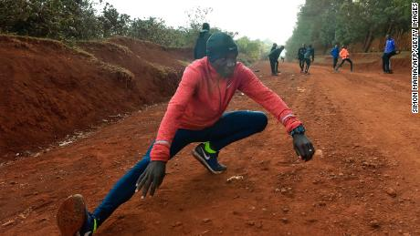 Kipchoge takes part in a training session near Eldoret in March 2017.